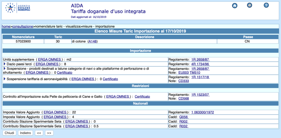 codice taric misure importazione